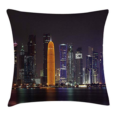 Trsdshorts Urban Throw Pillow Cushion Cover, Qatar Middle East Town with Luminous Skyscraper at Night Arabic View, Decorative Square Accent Pillow Case, 18 X 18 inches, Charcoal Grey Purple Orange