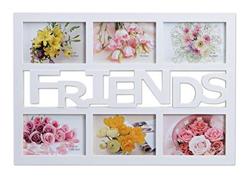 WOMA Bilderrahmen Collage in 3 Varianten - Friends - 6 Fotos á 10x15 cm - Fotorahmen/Fotocollage aus Kunststoff - Grau/Silber (48cm x 33cm)