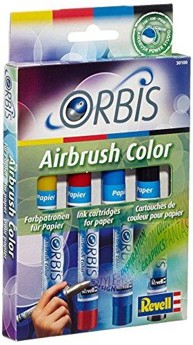 Orbis Airbrush, Orbis-Farbpatronen, Papierfarbenset mit 4 Farben, für Papier, Pappe, unbehandeltes Holz, Leinwand etc., einfacher Wechsel der Airbrushfarben - gelb, rot, blau, schwarz 30100 - Farbpatrone Farbe