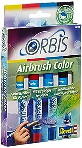 Orbis 30100 Set A - Set de recarga para aerógrafo (incluye 4 cartuchos de tinta), color amarillo, rojo, azul y negro importado de Alemania