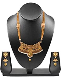 Sapna FX Gold Plated Antique Traditional Brass Kundan Thread Beads Pearl And AD Peacock Jewellery Set For Girls...