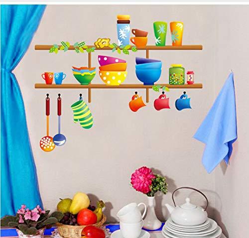 Wiwhy Cartoon Nette Küche Ware Kunst Wandbild Dekor Küche Tile Cabinet Glas Aufkleber Aufkleber Schöne Geschirr HomePoster Decor40X60Cm