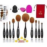 Brochas de Maquillaje Profesional 10 + 3 FULLINO Cepillos Ovales de Maquillaje, Set 10 Pinceles. Características en Polvo, Corrector, Contorno, Base, Fusión, Delineador de Ojos y Cepillos las cejas - Huevo cepillo de limpieza - Beautyblender Esponja - Fundación Cepillos Crema Contorno Powder Blush Corrector cepillo del maquillaje de los cosméticos del sistema de herramienta - FULLINO 2017