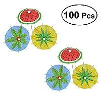 Amosfun Cocktail Parasol Drink Umbrellas Paper Parasol Picks for Hawaiian Party Pool Party 100PCS (Mixed Color)