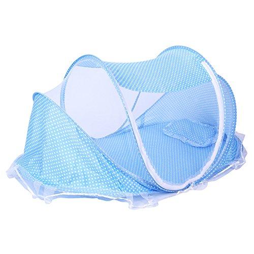 ThreeH Tente pliante de lit de bébé Lit de voyage Tente moustiquaire Pop Up avec oreiller BX04,Blue