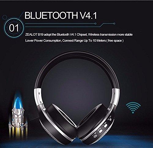 Longteng Zealot Wireless Bluetooth Headset Noise Cancellation 3D Stereo LCD Kopfhörer. Schwarz - 4