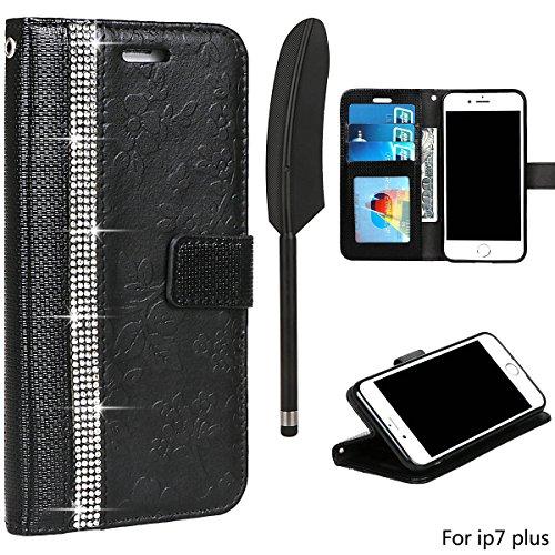 xhorizon Luxus Bling Strass Diamanten Handy Schutzhülle mit Blumentextur aus PU-Leder, Umklappbare Brieftasche-Schutzhülle mit Kartensteckplätzen für iPhone 7 Plus / iPhone 8 Plus (Stift in Feder Stil Schwarz