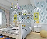 TX ZHAORUI Europäischen Umweltschutz Vliestapete Cartoon Cartoon Heißen Bären Vliestapete Süße Süße Cartoon Kinder Schlafzimmer Spielzeug Raum Volle Tapete,Lightblue