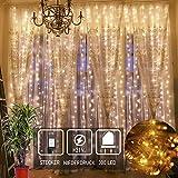 300 LED Lichterkettenvorhang 3mx3m 8 Modi IP44 Wasserfest Lichterkette für Weihnachten Innen/Außen Garten Balkon Party Hochzeit Schlafzimmer- warmweiß