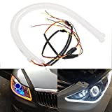 Inlink 2-Pack Dual Color Flexible DRL Switchback Parking Lamp White-Amber Headlight LED Soft Tube Daytime Running Turn S