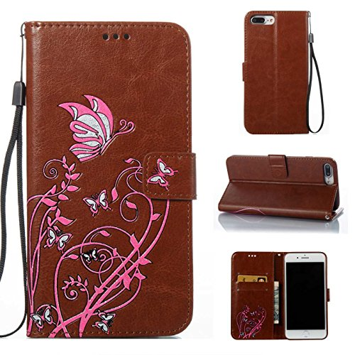 TOYYM iPhone 7 Plus 5,5Zoll Hülle,iPhone 7 Plus Schutzhülle,Ultra Dünn PU Leder Bookstyle Tasche Flip Cover Wallet Brieftasche mit Ständerfunktion Kartenfächer Strap,Narcissus Muster Design Klapphülle Braun