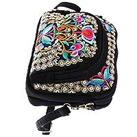 Baoblaze Vintage Embroidery Women Handbag Flower Style Design Embroidered Shoulder Bag 19x14cm #1