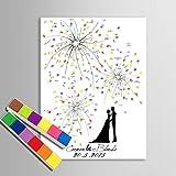 Takalao Personalisierte Fingerabdruck Malerei Leinwand Drucke-Gästebuch Signatur Fingerabdruck - unter dem Feuerwerk Hand zeichnen , Standard , 60*80