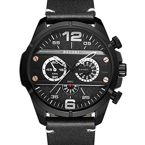 Unisex Quarzuhr Lederband große Zifferblatt 55mm Sport Mode Uhr Outdoor-Klettern, A