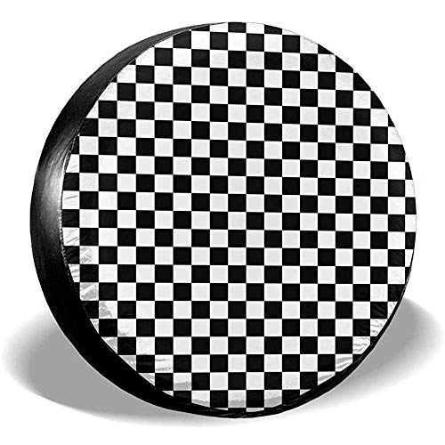 Hiram Cotton Spare Tire Cover Griglia in Bianco E Nero Copertura della Ruota di Scorta Copertura per Fuoristrada velocità Estrema Overdrive Univers