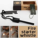 Mbuynow Kit Allume Feu Magnésium Portable Flint Fire Starter Allume Feu de Survie Pièrre à Feu Survie Magnésium avec Flint Stone et Sifflet Outil de Survie Allumer Feu pour Randonnée Camping en Extérieur - Vert