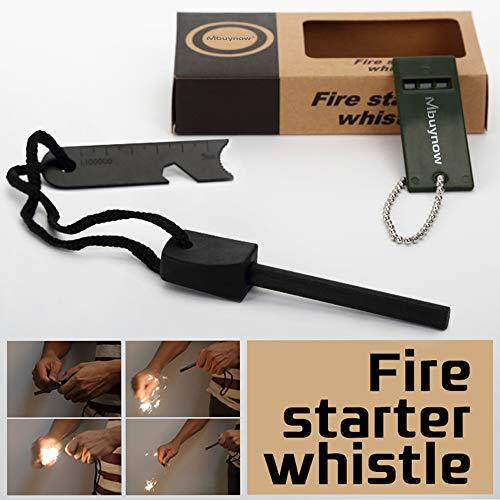 Mbuynow Kit Allume Feu Magnésium Portable Flint Fire Starter Allume Feu de Survie Pièrre à Feu Survie Magnésium avec Flint Stone et Sifflet Outil de Survie Allumer Feu pour Randonnée Camping (Vert)
