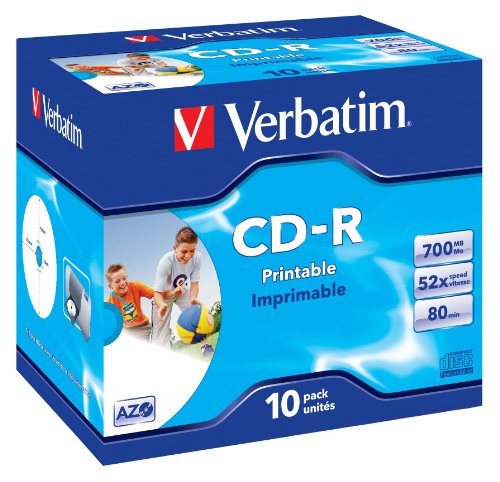 Verbatim CD-R Super AZO Print 52x 700MB bedruckbare CD-R Rohlinge im Jewel Case 10er-Pack