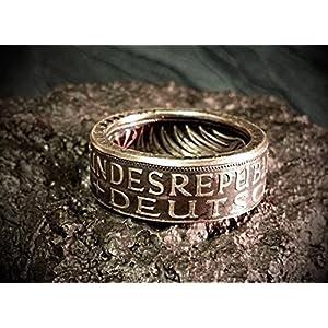 Coinring, Münzring, Ring aus Münze (1967 Heiermann - Silberadler - 5 Mark), 625er Silber - Double Sided coin ring - verschiedene Größen, Ihr handgeschmiedetes Unikat