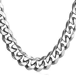 U7 12mm Panzerkette für Männer Herren Edelstahl Halskette Gliederkette Silber Ton HipHop Biker Rocker Kette (Länge 46cm)