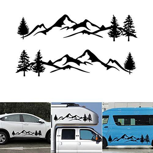PoeHXtyy Mountain Tree Car-Styling Fahrzeugaufbau 2 Seitenschweller Camping Wohnmobil Anhänger Aufkleber Aufkleber Dekoration