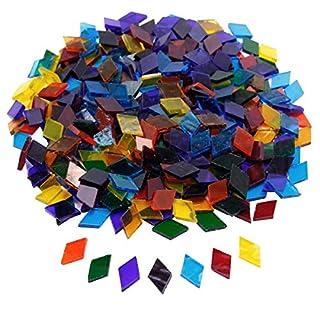 SurePromise 360pcs Mosaic Tiles Assorted Colors Rhombus Glitter Glass Mosaics with Storage Box for DIY Art Craft Decoration (Transparent)
