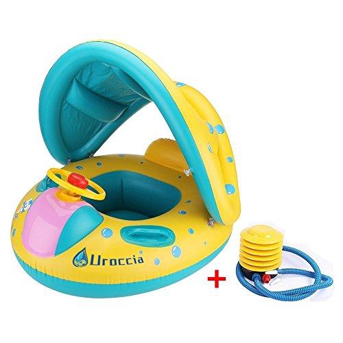 Uroccia Baby Pool Float Sonnenschirm aufblasbare Schwimmring Wasser Boot Einstellbare Baldachin Sicherheitssitz für 6-36 Monate Kinder Kleinkinder