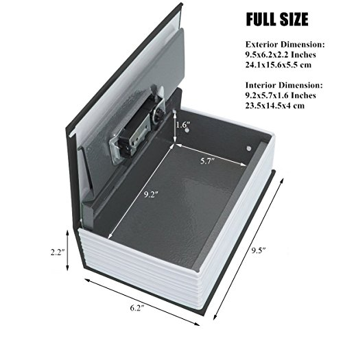 Langtor Caja Fuerte para Libros con Cerradura de Combinación, Caja Fuerte Portátil, Ideal para Guardar Dinero, Acero (Medio, Negro)