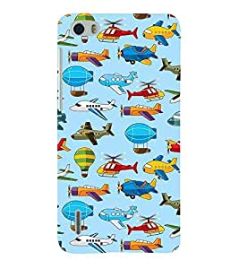 For Huawei Honor 4X :: Huawei Glory Play 4X aeroplane pattern ( aeroplane, helicopter, balloon, blue background, pattern ) Printed Designer Back Case Cover By Living Fill