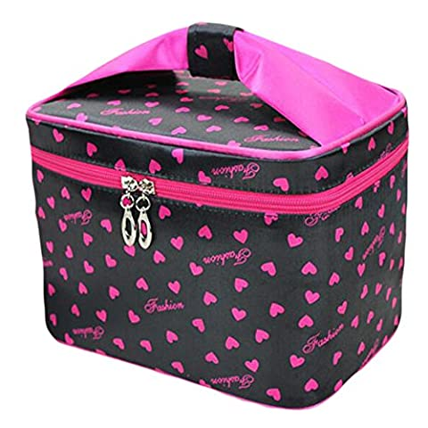 HOYOFO Toiletry Cosmetic Storage Beauty Case Makeup Bag with Sweet Bow Handle,Black