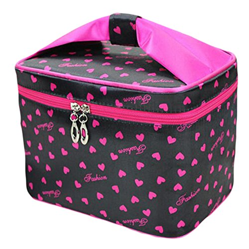 Toiletry Cosmetic Storage Stripe Beauty Case Makeup Handbag with Sweet Bow Handle, Black Alle Access-tote