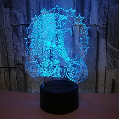 Ride Eagle (Kreative Eagle Ride Motorrad-Modell 3D Führte Licht Nahe Illusion Schlafzimmer Wohnzimmer Tier 7 Farben Usb Schreibtisch Tischlampe Kind)