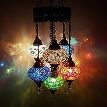 Uniques Turque Lampe Ottomane Style Mosaïque De Verre Chandelier 8 Ampoule(17cm)