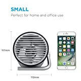 Fancii Small Personal USB Fan - Portable Mini Table Desk Fan with Twin Turbo Blades, Whisper Quiet Cyclone Air Circulating Technology - For Home, Office, Outdoor Travel (Black)