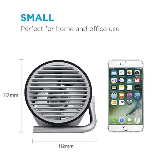 Fancii Kleiner USB Ventilator Ultra Leise - Mini Tischventilator Lüfter mit Doppelturboblättern für den Schreibtisch, Zuhause, Büro und Zimmer (Schwarz)