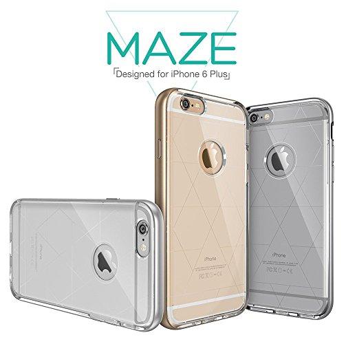 iPhone 6 Plus Hülle (5,5 Zoll), ESR® Hybrid Schutzhülle, Metallrahmen + Weiche Silikon Stoßdämpfung Hülle für iPhone 6 Plus- Hermit Gold [Kostenloses Geschenk: HD Schutzfolie] Maze_Gold