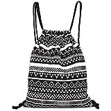 westeng–Bolsa con cordón (lienzo, diseño de geométrico mochila Simple estilo noir-blanc