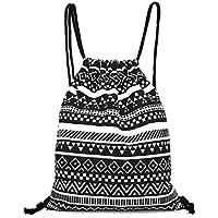 Westeng - Bolsa con cordón (lienzo, diseño de geométrico mochila Simple estilo noir-Negro