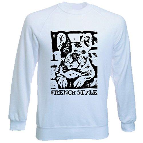 Teesquare1st Men's FRENCH BULLDOG FRENCH STYLE PB 10 White Sweatshirt T-Shirt Size XXLarge