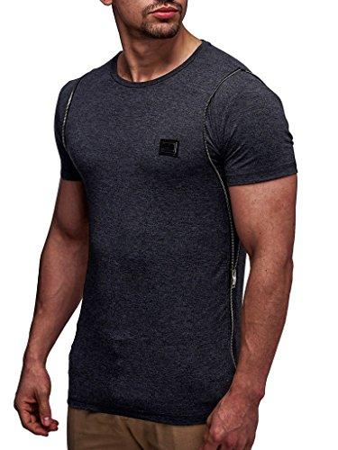 LEIF NELSON Herren T-Shirt Poloshirt LN0250; Größe S, Anthrazit |