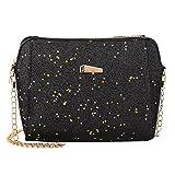 LQQSTORE Borsa a spalla femminile, Borsa a tracolla per borse a tracolla di colore puro con paillettes moda donna (nero)