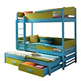 QUATRO Children Triple Bunk Bed - Pine Wood - 24 Colours of Frame / 5 Colours of Inserts - 2 Sizes - 4 Types of Mattresses (190 cm x 87 cm x 183 cm)