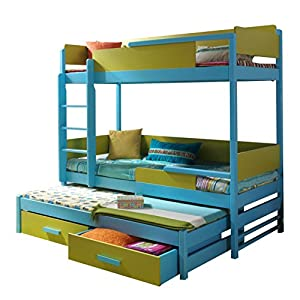 QUATRO Children Triple Bunk Bed - Pine Wood - 24 Colours of Frame / 5 Colours of Inserts - 2 Sizes - 4 Types of Mattresses (190 cm x 87 cm x 183 cm)