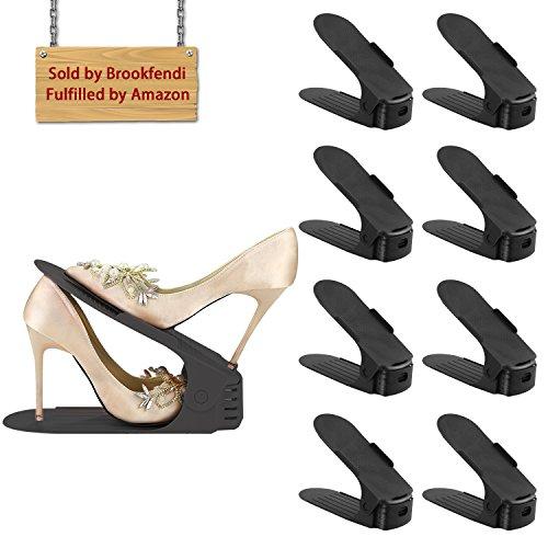 8pezzi creativo durevole Regolabile scarpiera salvaspazio plastica shoe organizer, scarpe salvaspazio Holder shoe rack--Black