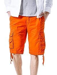 Moollyfox Hombre Vintage Suelto Pantalones Cortos Bermudas Sport Casual
