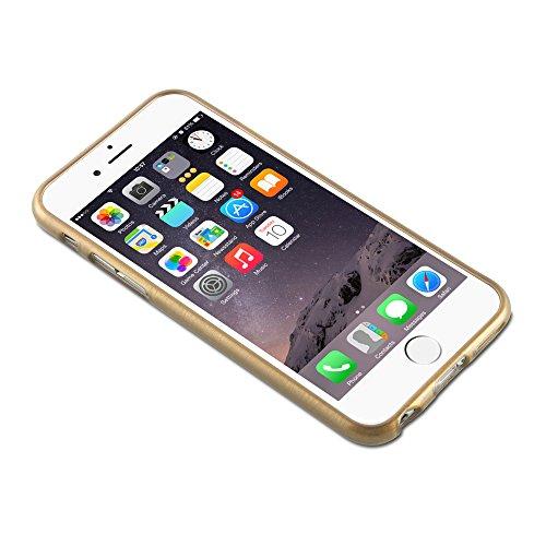 Apple iPhone 6 / 6S (4.7) Silikon-Hülle in ROT von Cadorabo - TPU Schutz-hülle Edelstahl-Optik gebürstet BRUSHED Design – Handy-hülle Bumper Case Cover in ROT GOLD