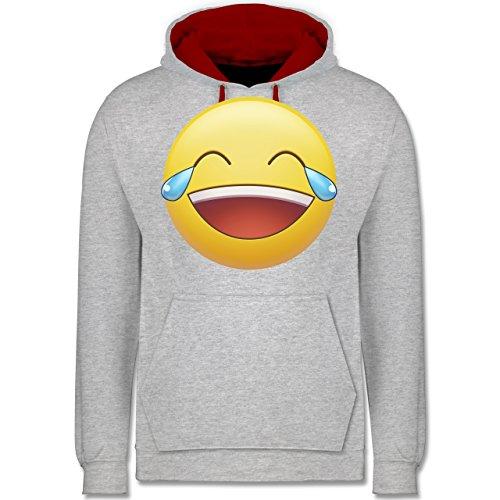 Statement Shirts - Tränen Lachen Emoji - Kontrast Hoodie Grau Meliert/Rot