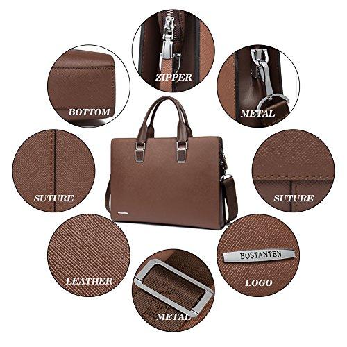 Bostanten Mens Laptop Bag In Pelle Tracolla Ventiquattrore Borsa Tracolla Caffè Nero