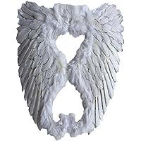 Yummy Bee - Echte Federn Engel Glitzer Fee Weiße Flügel Groß Damen Karneval Fasching Kostüm Erwachsene Größe 50cm x 46cm