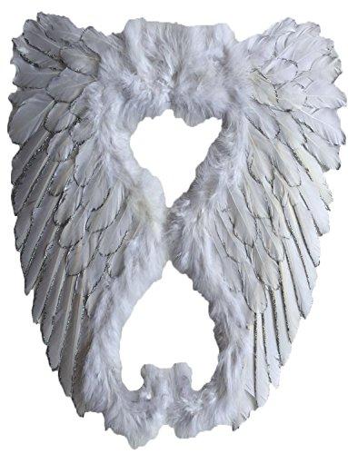Bee Flügel Kostüm - Yummy Bee - Echte Federn Engel Glitzer Fee Weiße Flügel Groß Damen Karneval Fasching Kostüm Erwachsene Größe 50cm x 50cm